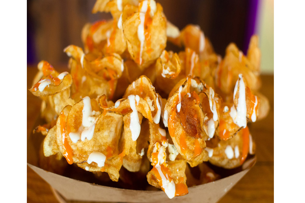 "Twister Chips · ""SPICY BUFFALO"" NN Buffalo Sauce, Aged Danish Blue Cheese Crumbles, with Buttermilk Ranch Drizzle"